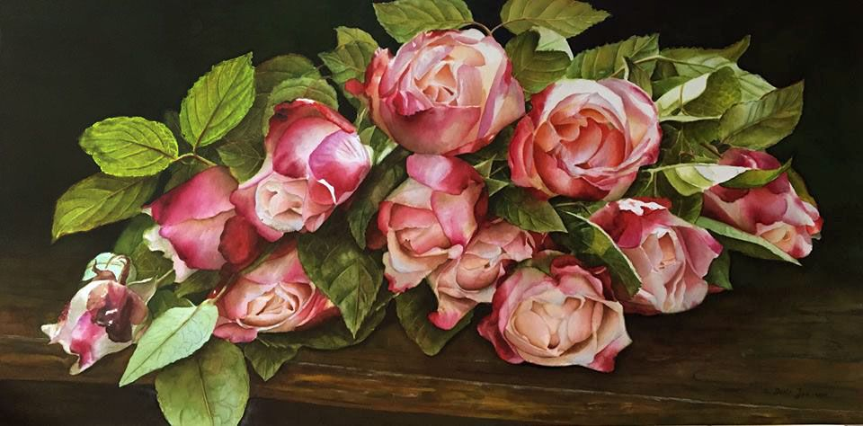 Bouquet Of Roses On Wood Table Watercolor Flowers Paintings