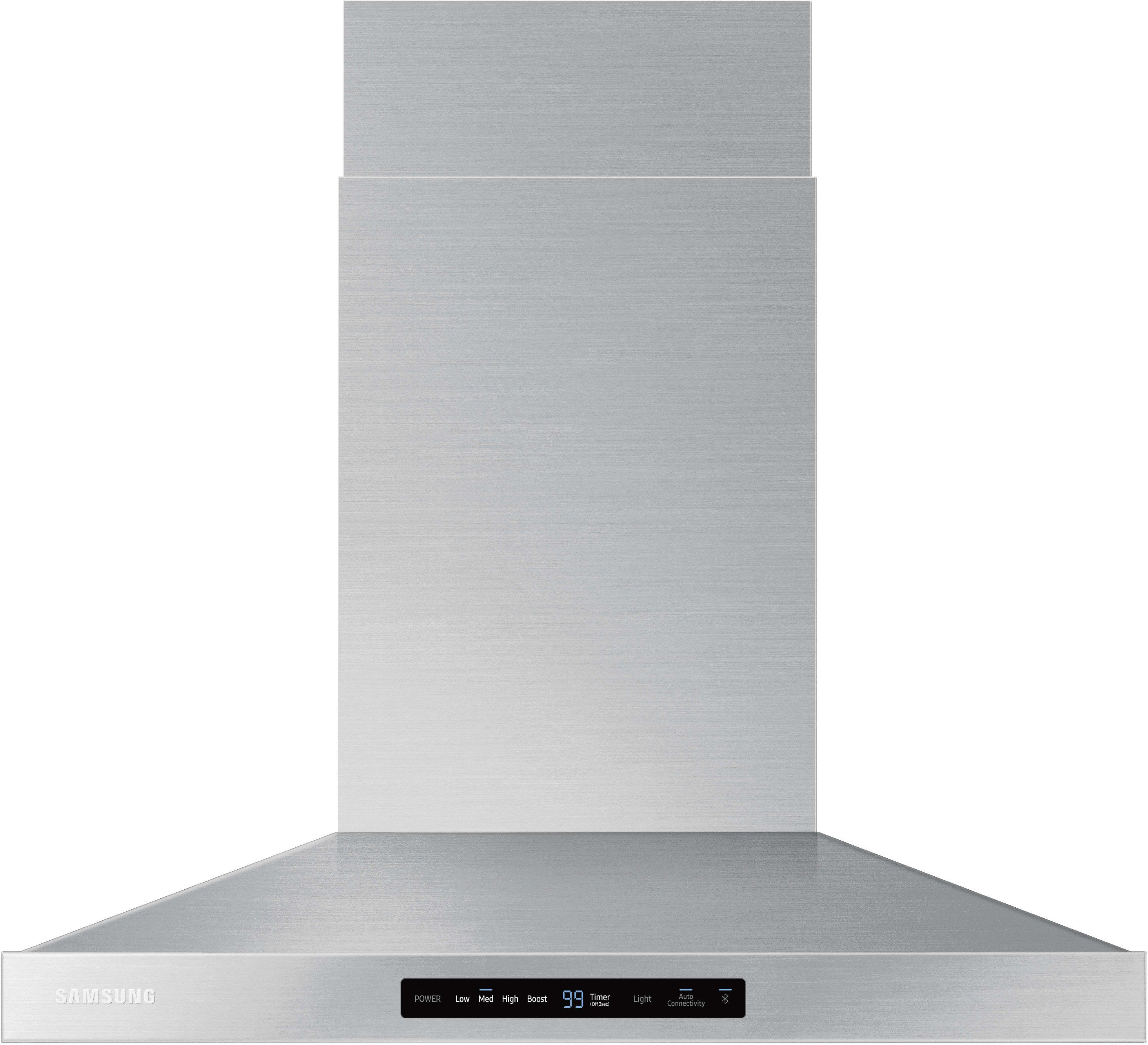 Samsung Nk30k7000wg 30 Inch Smart Wall Mount Chimney Range Hood With Wi Fi And Bluetooth Connectivity 600 Cfm 4 Speeds Booster Led Cooktop Lighting Digital Stainless Steel Range Hood Stainless Range Hood