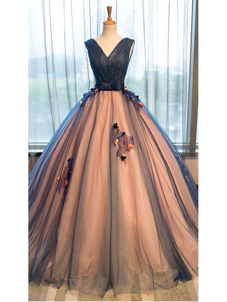 Duchesse-Linie V-Ausschnitt bodenlang Ärmellos Tülle Abendkleider ...