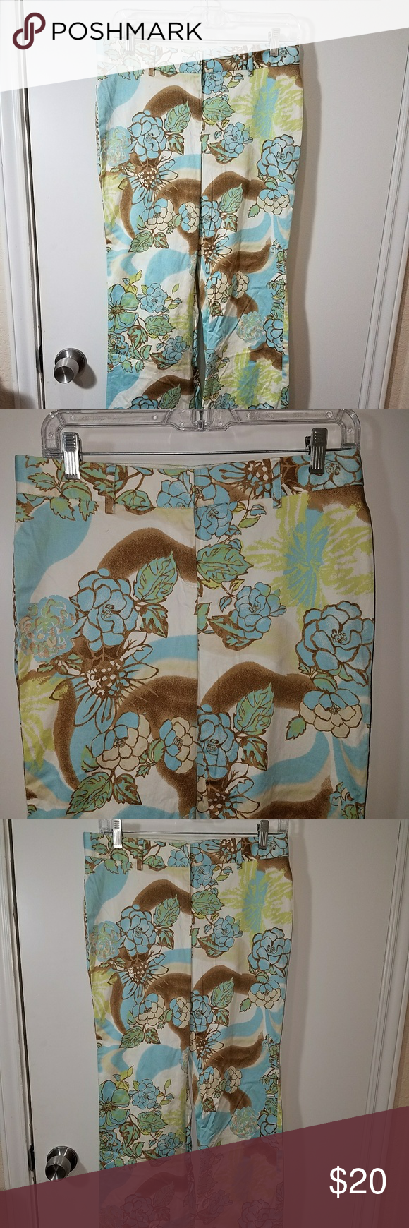 Express editor floral pants size 2 Gently used.  No holes or stains.  Cotton blend.  Machine washable.  Zip/pull in front. Waist 30, inseam 32, ankle flat 9 6/6 (m30) Express Pants