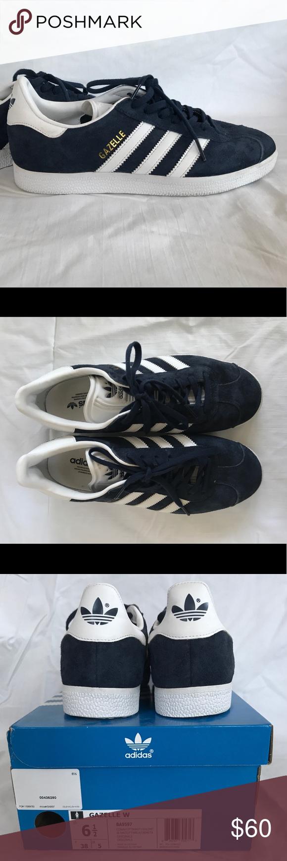 adidas gazelle sneakers women's size 6.5 navy blue suede