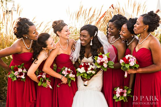 Red Crimson White Wedding Mori Lee Bridesmaid Dresses