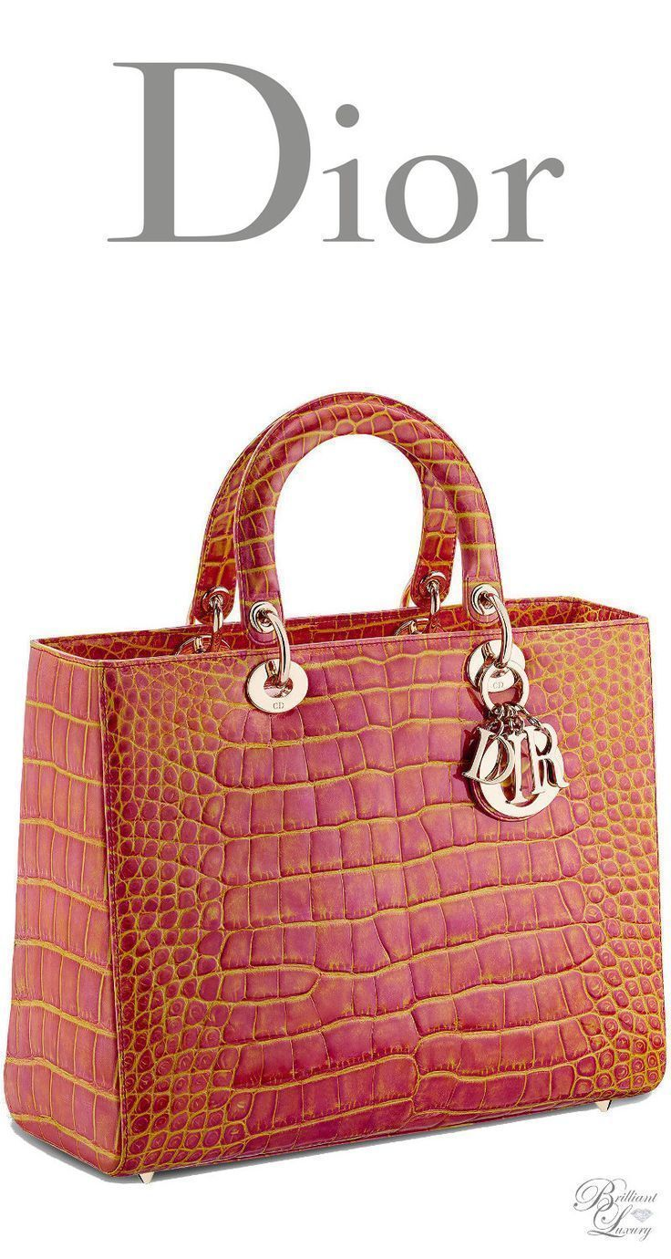 2178104c6415 Brilliant Luxury   Dior Cruise 2016 ~ Large Lady Dior bag in pink and  yellow patinated alligator - designer leather handbags on sale