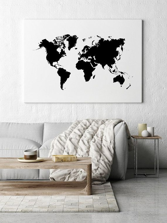 World map wall art large world map world map poster printable world map wall art large world map world map poster printable world map black world map gumiabroncs Gallery