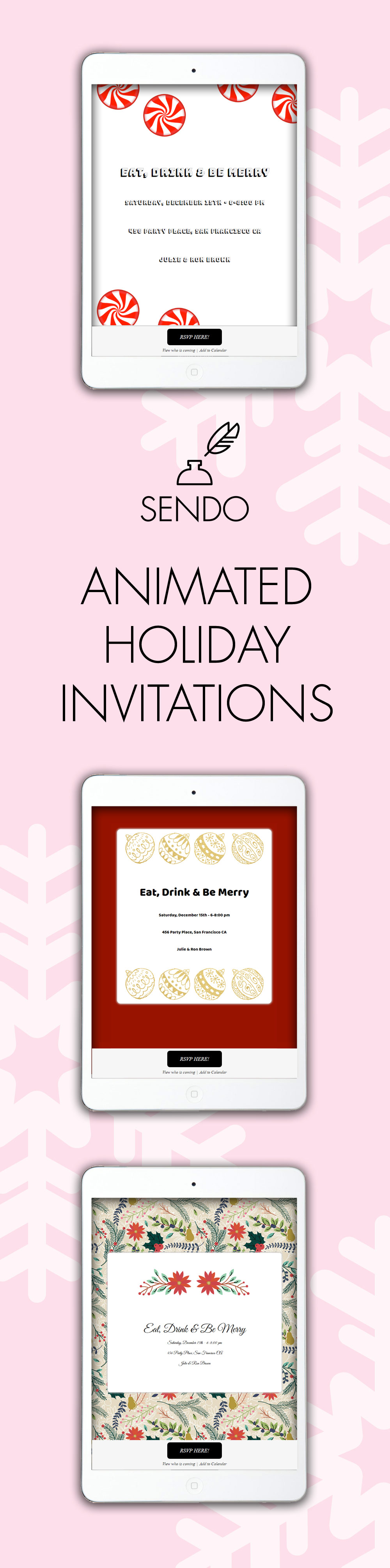 Animated Holiday Online Invitations - music, RSVP management ...