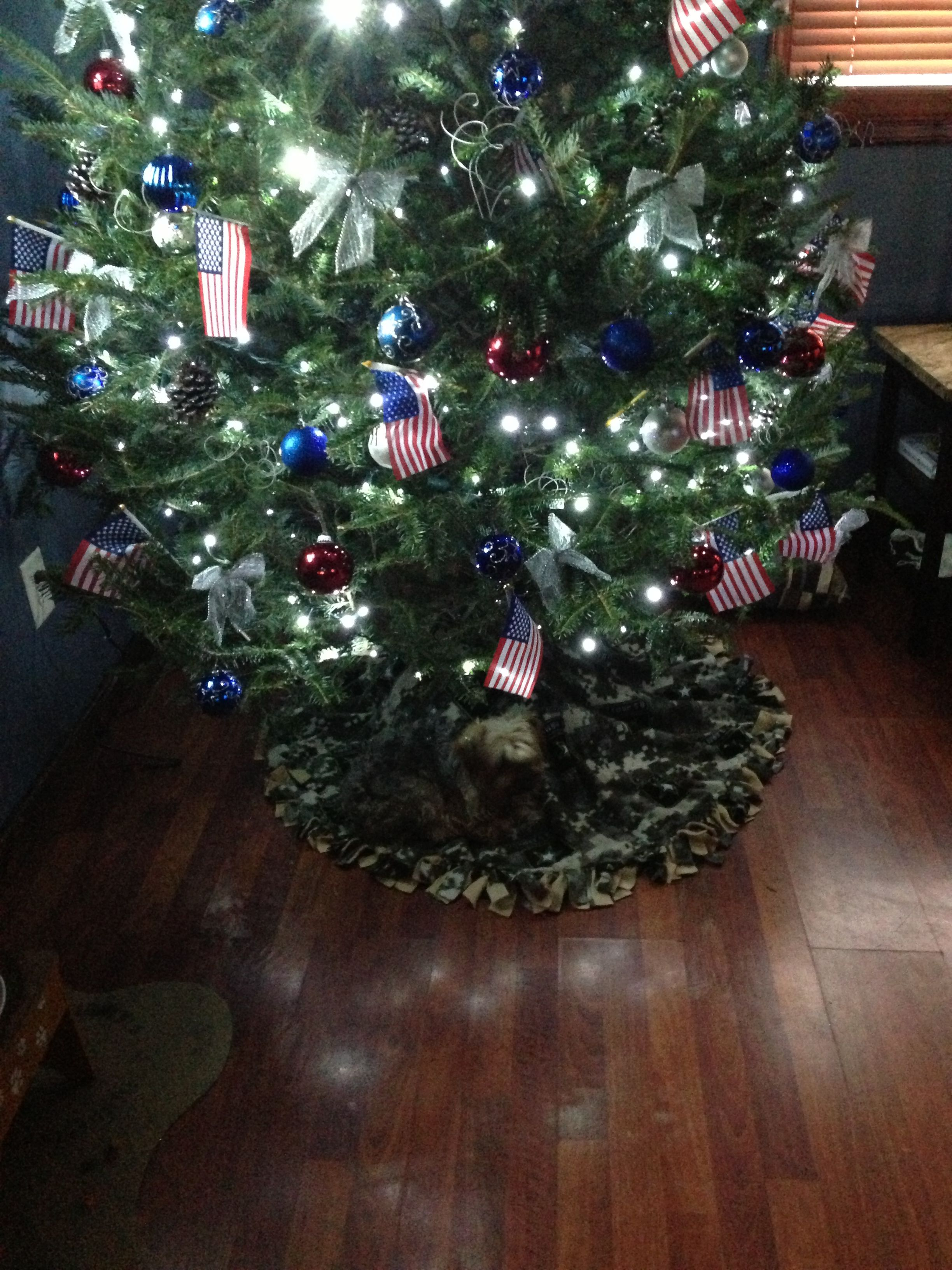 Patriotic christmas tree and home made us army skirt