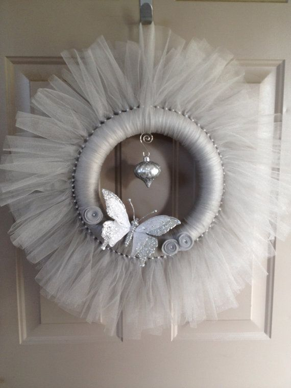 Photo of Items similar to Silver Tulle Holiday Wreath on Etsy