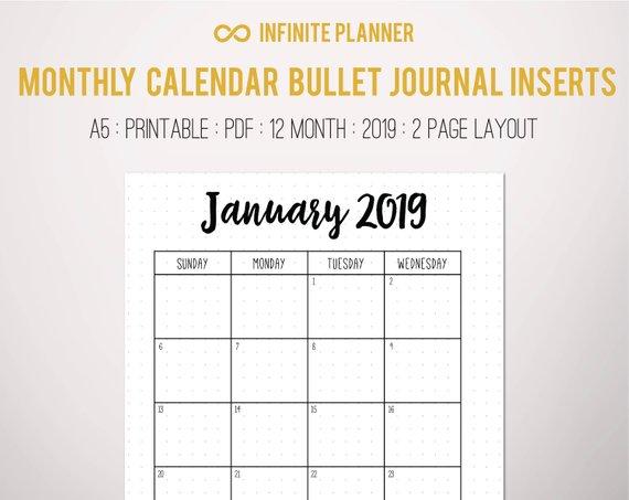 Calendrier 2019 Bullet Journal.Monthly Calendar 2019 Bullet Journal Printable In 2019