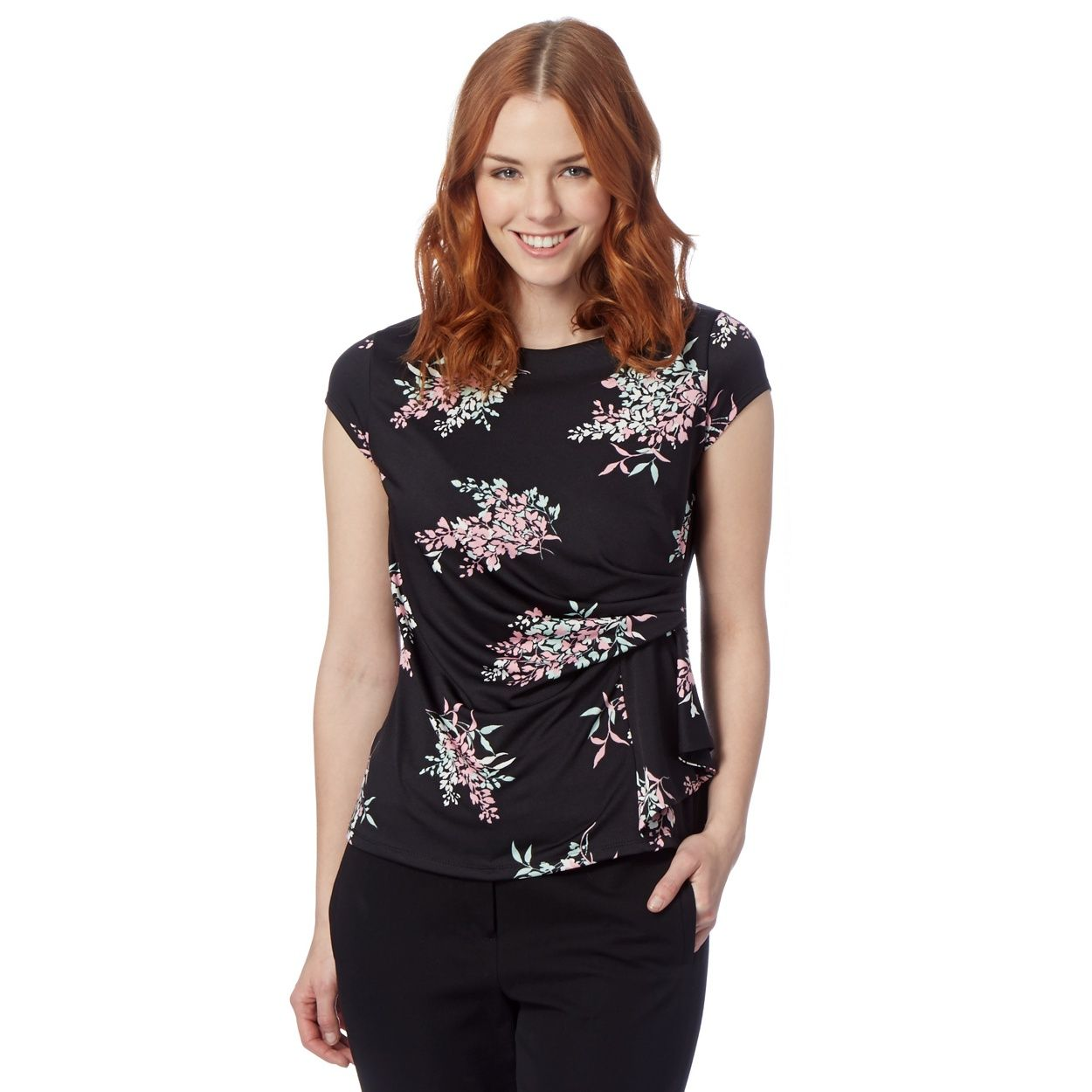 run shoes super cute reasonably priced The Collection Petite Petite black cherry blossom jersey top- at ...