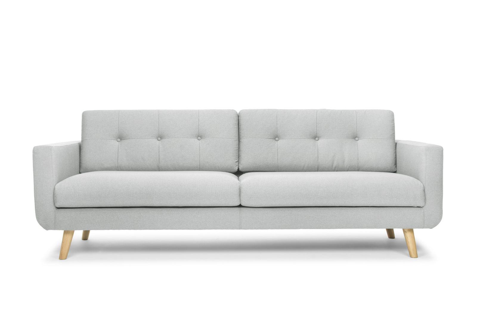 Maya Modern Contemporary 3 Seater Sofa Light Grey And Oak Legs Couch Design Sofa Design Sofa