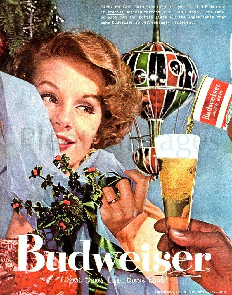 1957 Budweiser Beer Vintage Ad 1950's Christmas | Etsy in 2020