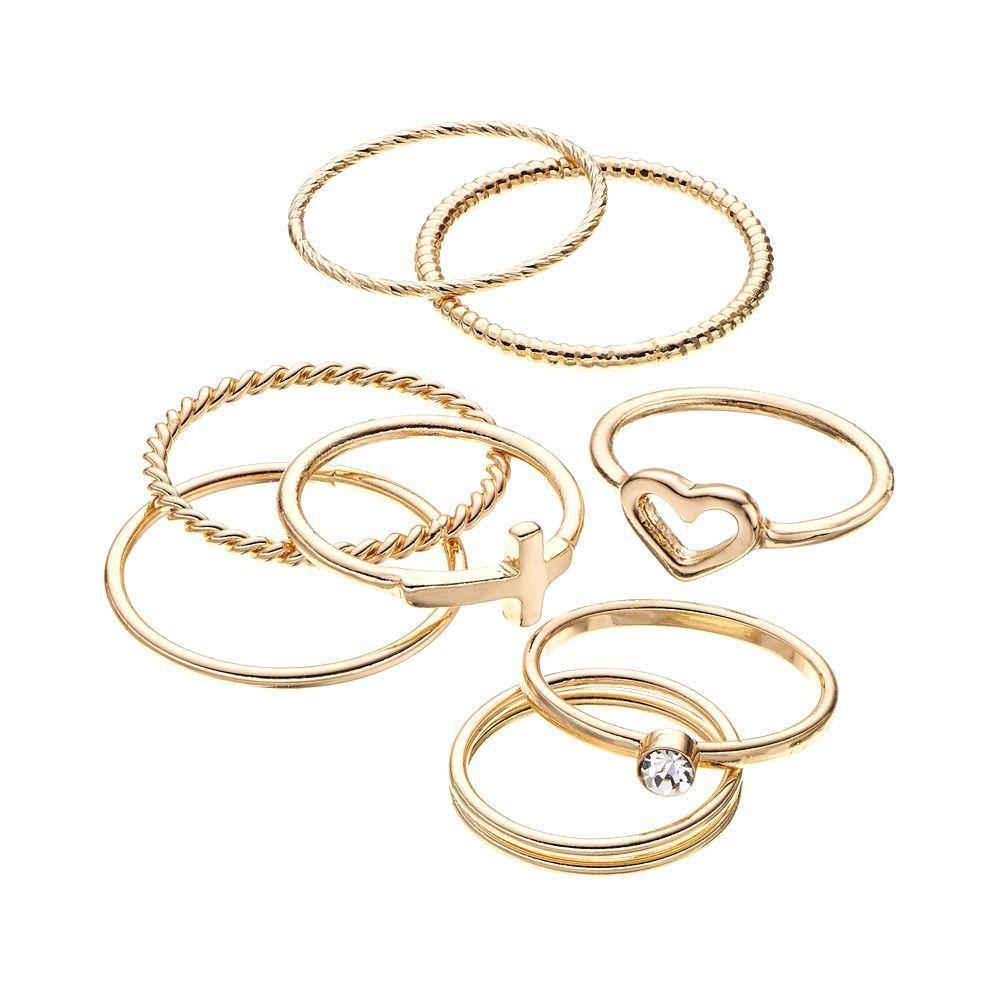 Lc lauren conrad heart sideways cross and textured midi ring set