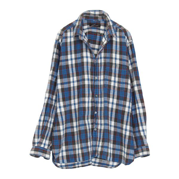 Remake check shirt ($56) ❤ liked on Polyvore featuring tops, shirts, flannels, blouses, shirts & tops, checkered flannel shirts, checkered shirt, flannel shirts and checked shirt