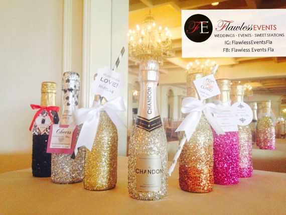 Flawless Events Fla  Glitter embellished champagne splits!! Using an old traditional favor with a new twist. Email us at info@flawlesseventsfla.com