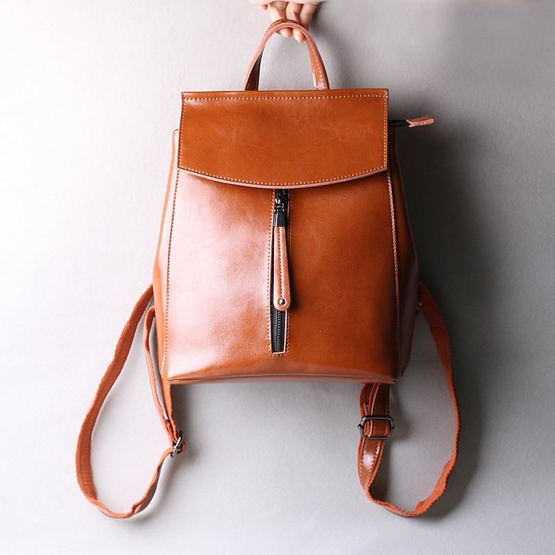 Photo of Women Leather Knapsack, Vintage Leather Backpack, Shoulder Bag 9233