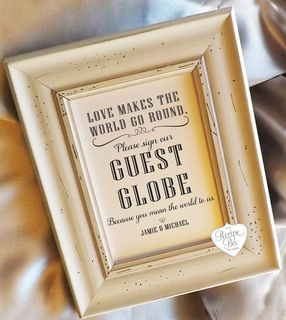 Ideas For Wedding Guest Sign In: Love Makes The World Go Round. Alternative Guest Book Idea