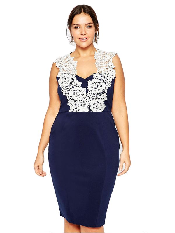 Plus Floral Lace Pencil Dress
