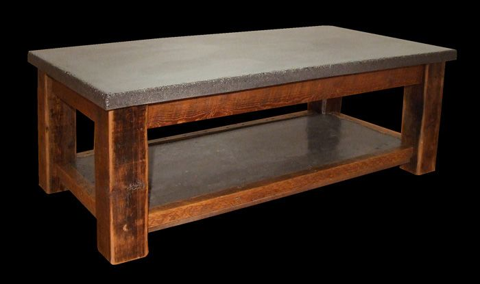 Coffee table concrete top with 100 yr old reclaimed douglas fir base modern and rustic for Concrete and wood furniture