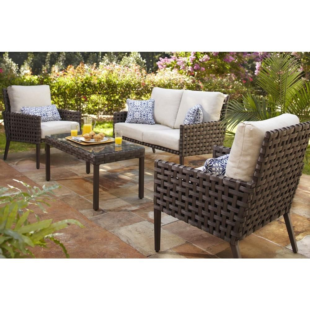 Hampton Bay Raynham 4 Piece Patio Seating Set Dy12091 4pc At The Home Depot Patio Seating Patio Seating Sets Conversation Set Patio