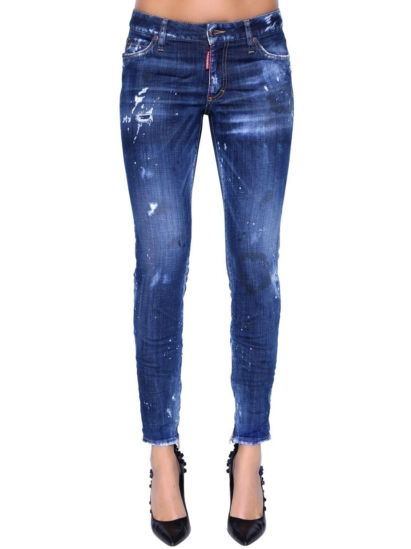 Dsquared2 Skinny Mid Rise Destroyed Denim Jeans Blue Çニム ìディース ìディース