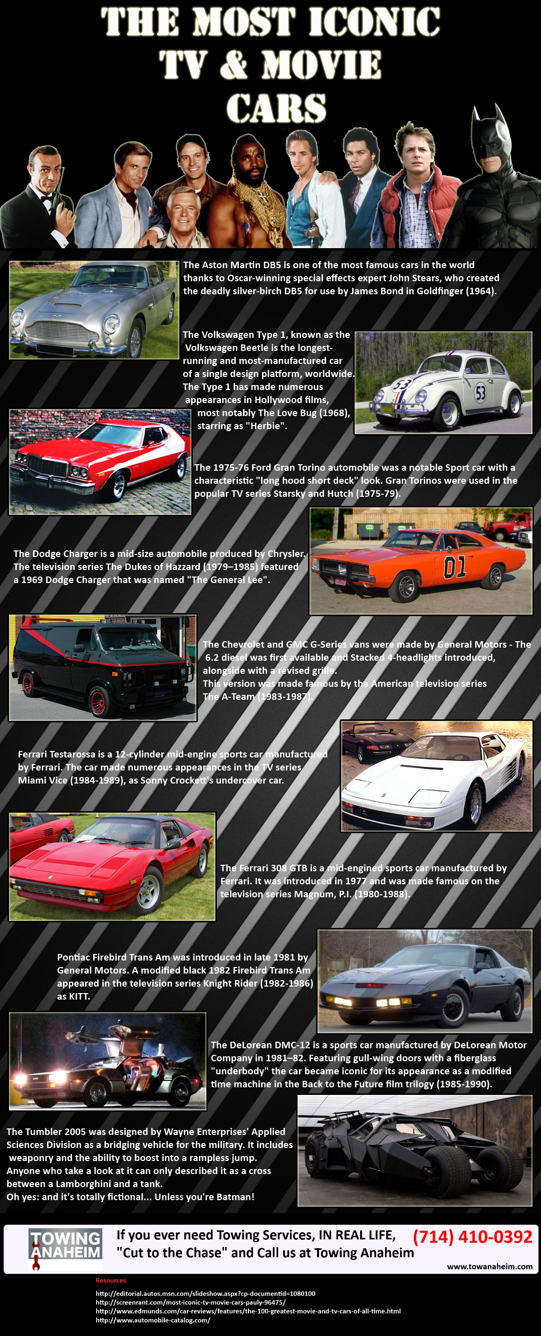 The Most Iconic TV and Movie Cars #infographic | Movie cars ...