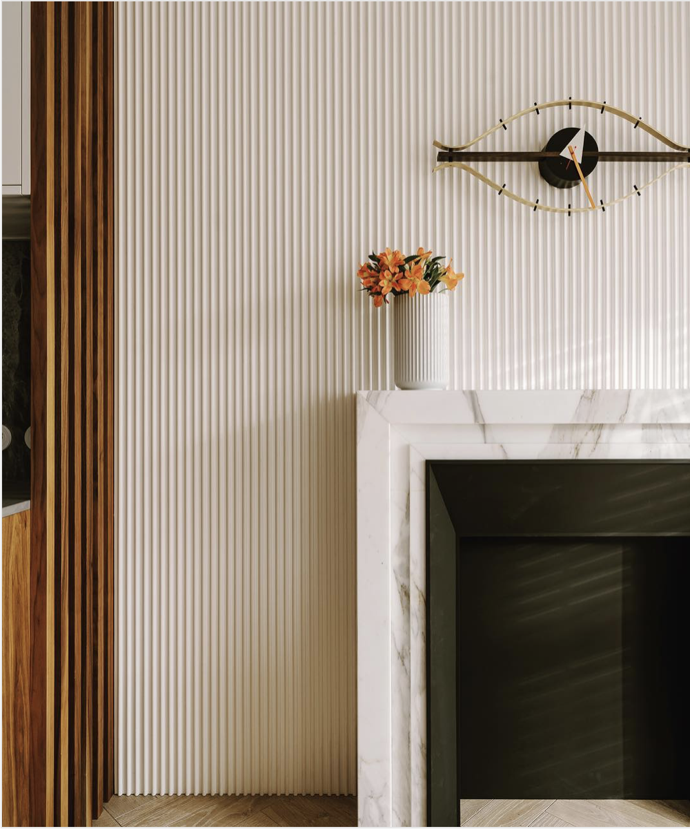 Ribbed Wall Calacatta Fireplace And Walnut Ribbed Door Corrugated Wall Orac Decor Interior Wall Design