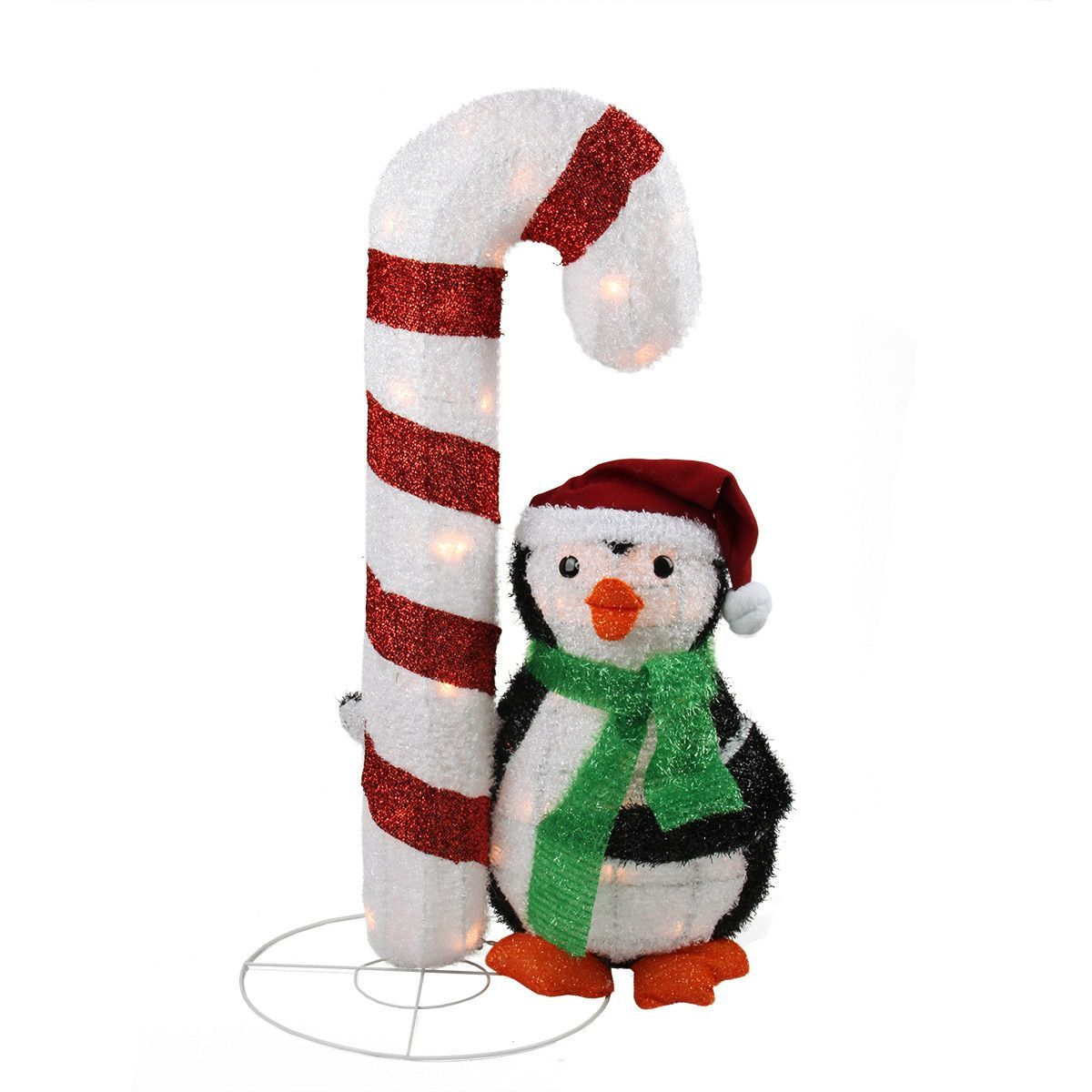 "Lighted Candy Cane Decorations 32"" Lighted Candy Cane And Penguin Outdoor Christmas Yard Art"