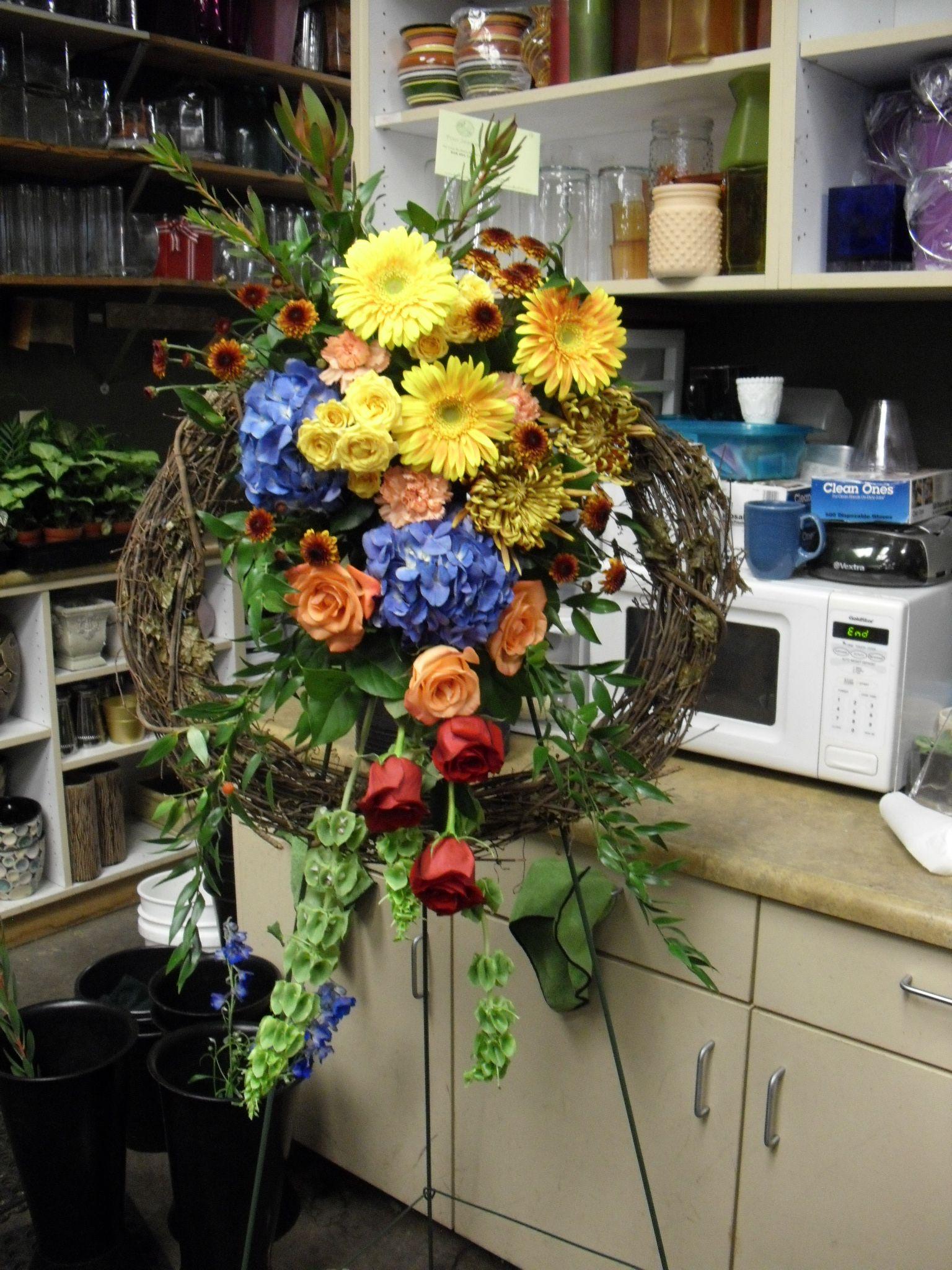 Yellow Blue Orange And Red Flower Arrangement Wreath My