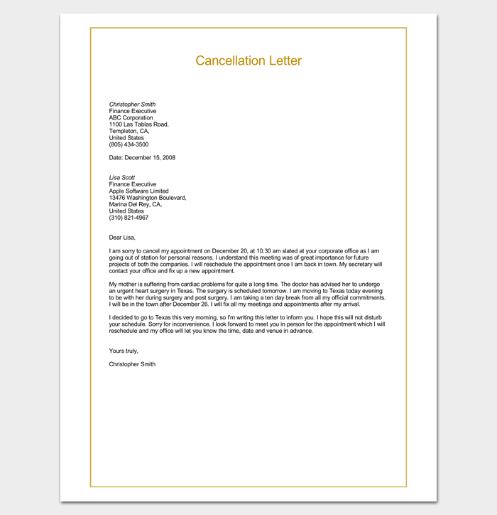Sample Cancellation Letter Format Word Doc  Letter Templates