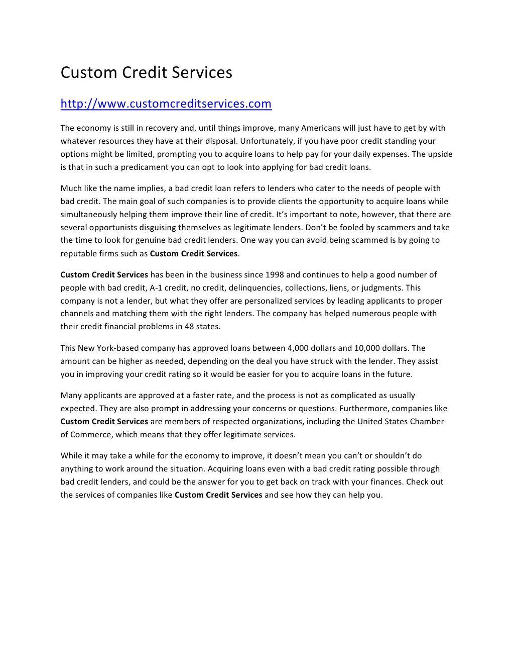 Custom Credit Services By Ricky James Via Slideshare