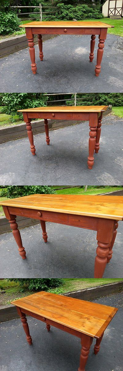 Antiques: Amish Handmade Unfinished Reclaimed Barn Wood Table Desk W Turned Legs -48 X24 -> BUY IT NOW ONLY: $425 on eBay!
