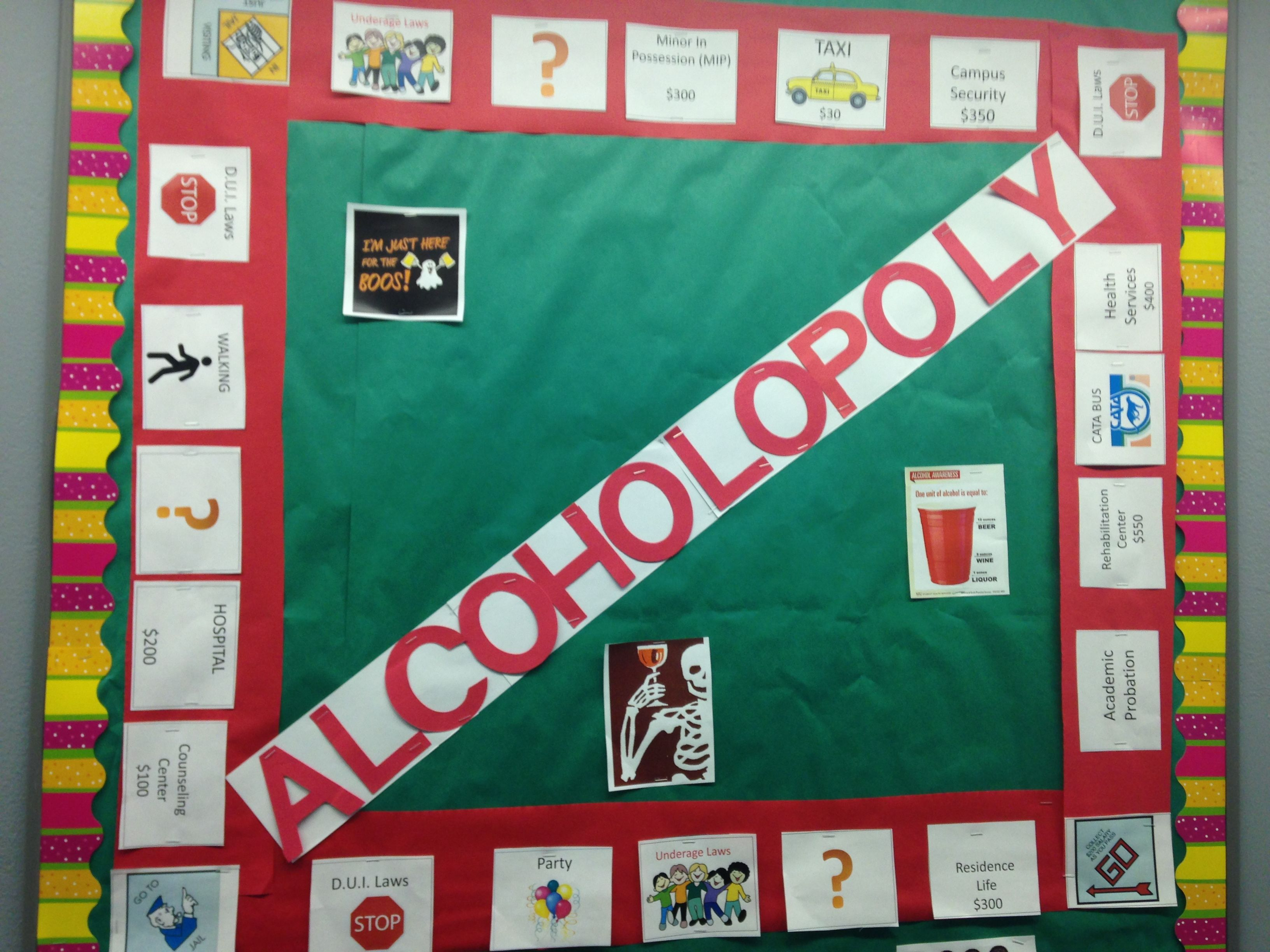 Alcoholopoly bulletin board adapted to school places and