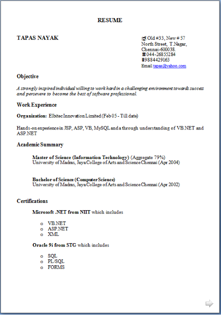 Masters In Computer Science Fresher Resume Sample Template