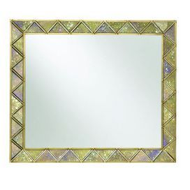 "Wall mirror with a mosaic-motifed frame. Product: Mirror    Construction Material: Hardwood solids and resin        Color: Gold          Features: Diamond design  Dimensions: 39"" H x 47"" W"