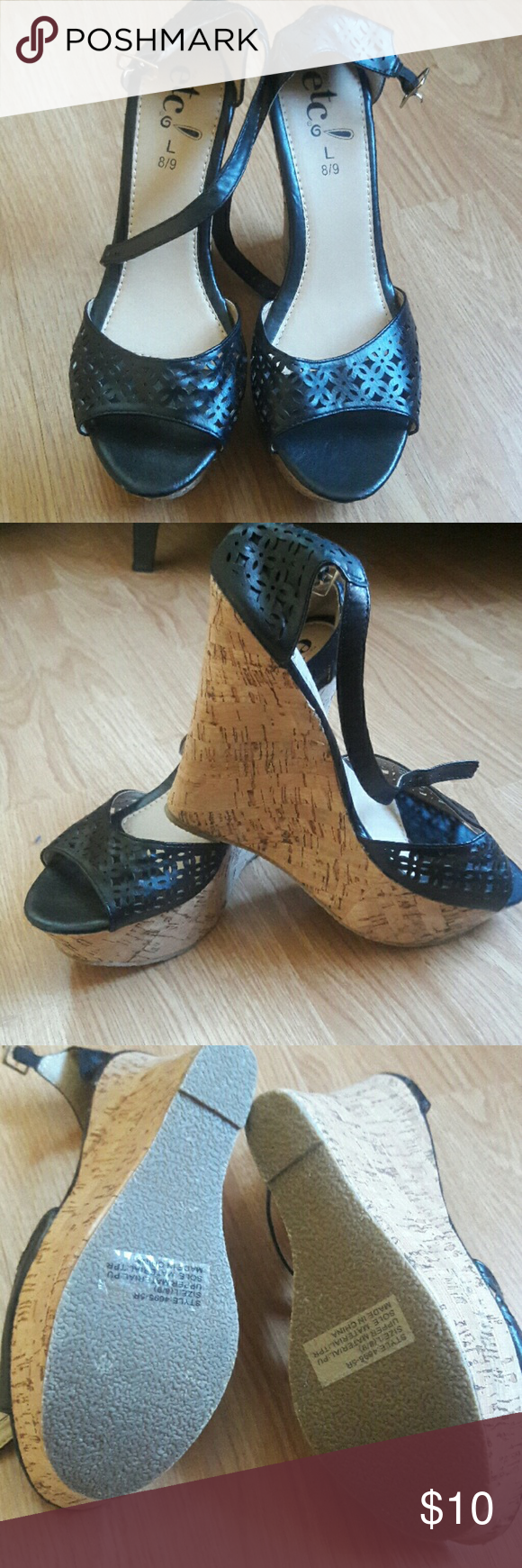 cfd919fed63 NWOT rue21 wedge sandals NWOT rue21 open toe wedge sandals in black. Size L  8 9 Rue 21 Shoes Wedges
