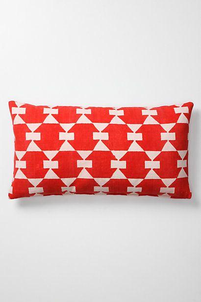 red block-print pillow