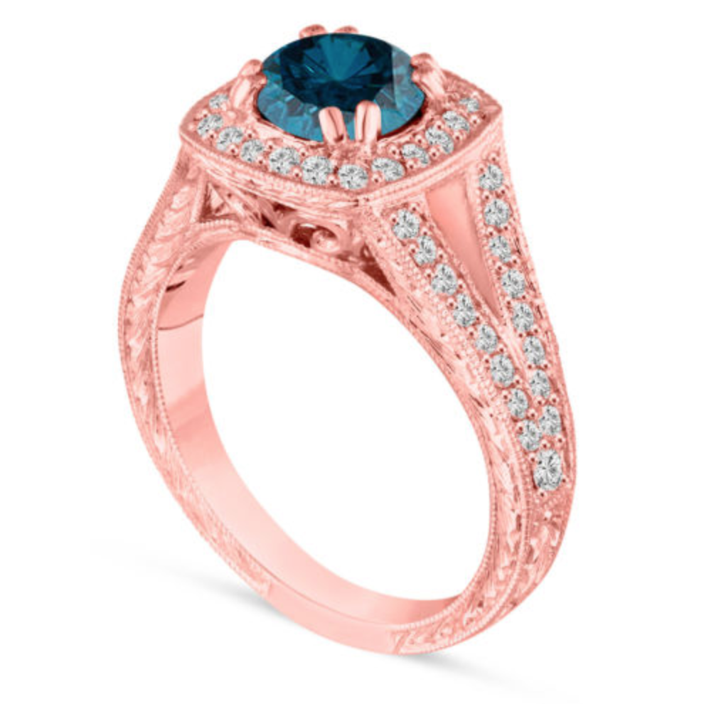 Stunning 14k #rose #gold #diamond #engagement #ring with a sapphire ...