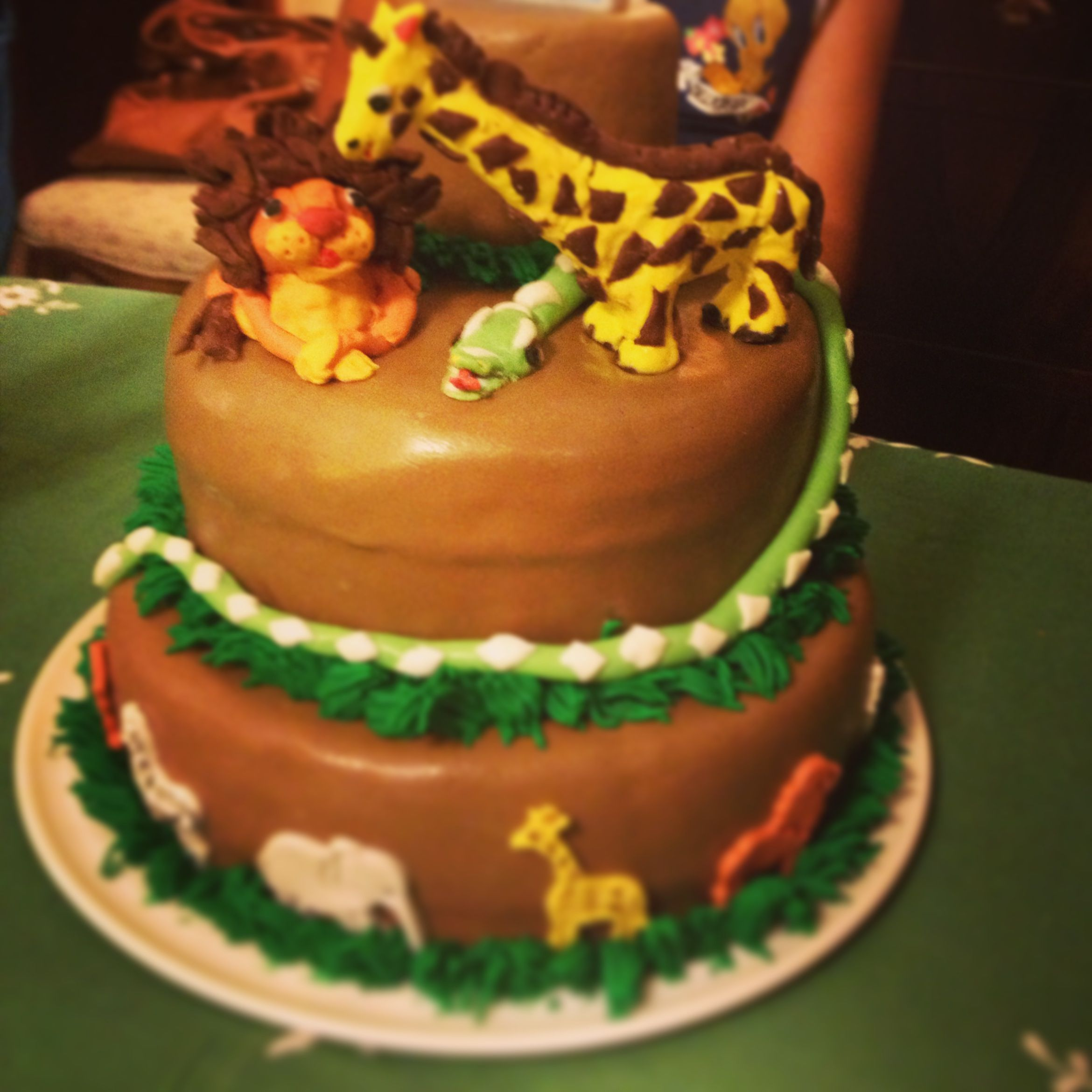 Jungle animal Cake for his first Bday