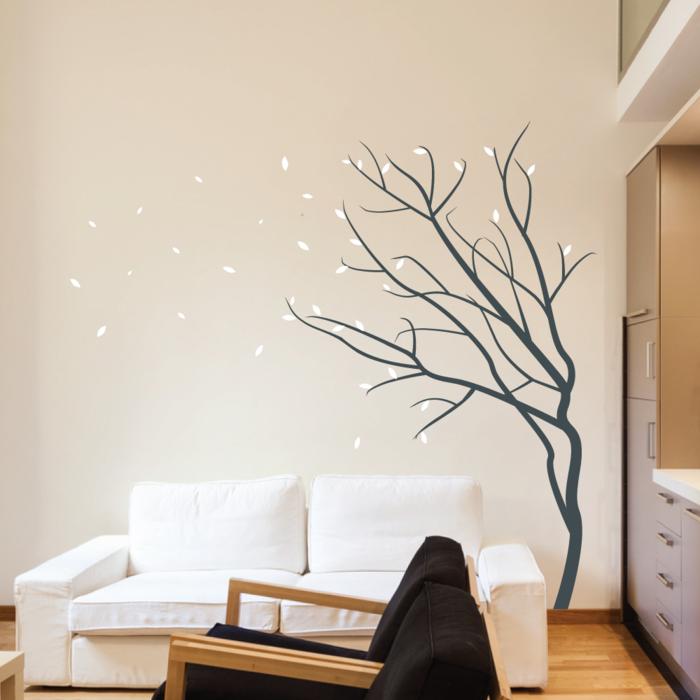 Wohnideen Wohnzimmer Weiße Wände wandtattoos baum wohnideen wohnzimmer weißes sofa beige wand