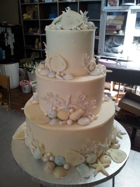 Charlys Bakery Cape Town Seashells 3 Tier Wedding Cake Iced With White Chocolate