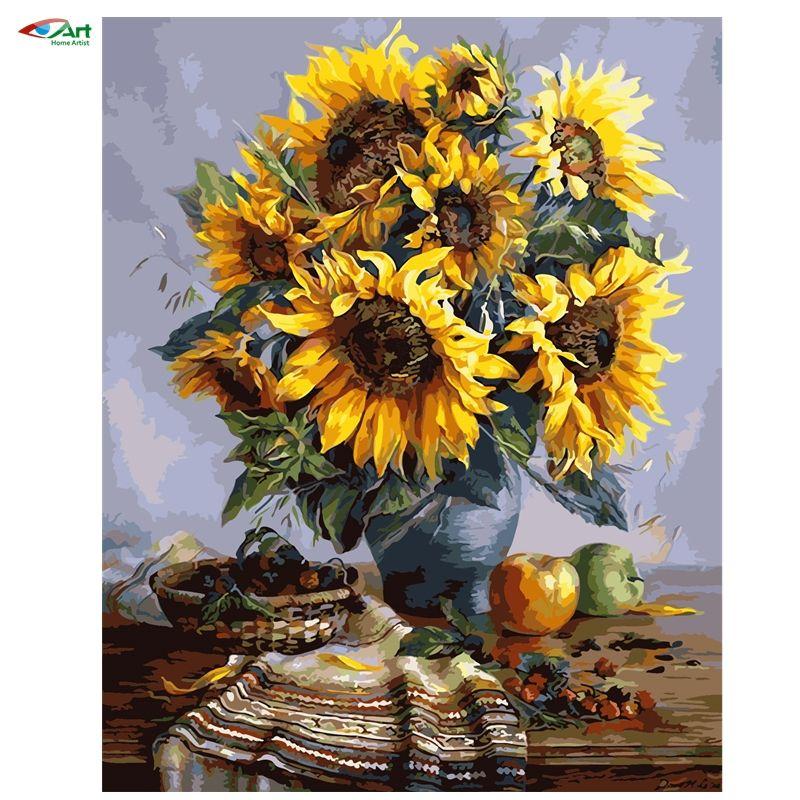 40x50 cm sonnenblumen rahmenlose bild auf wand acryl lgem lde durch zahlen abstrakte zeichnung. Black Bedroom Furniture Sets. Home Design Ideas
