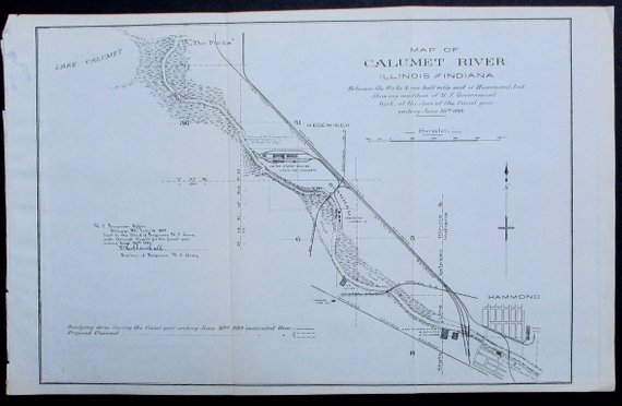 1889 Calumet River Map From The Forks And Calumet Lake Illinois To