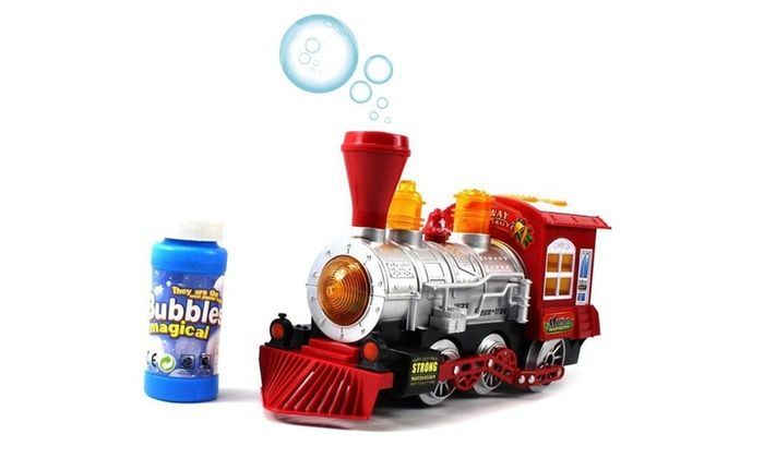 Lights and Bump/'n/'Go Battery Operated Kids Toy Blowing Bubble Train Car Music