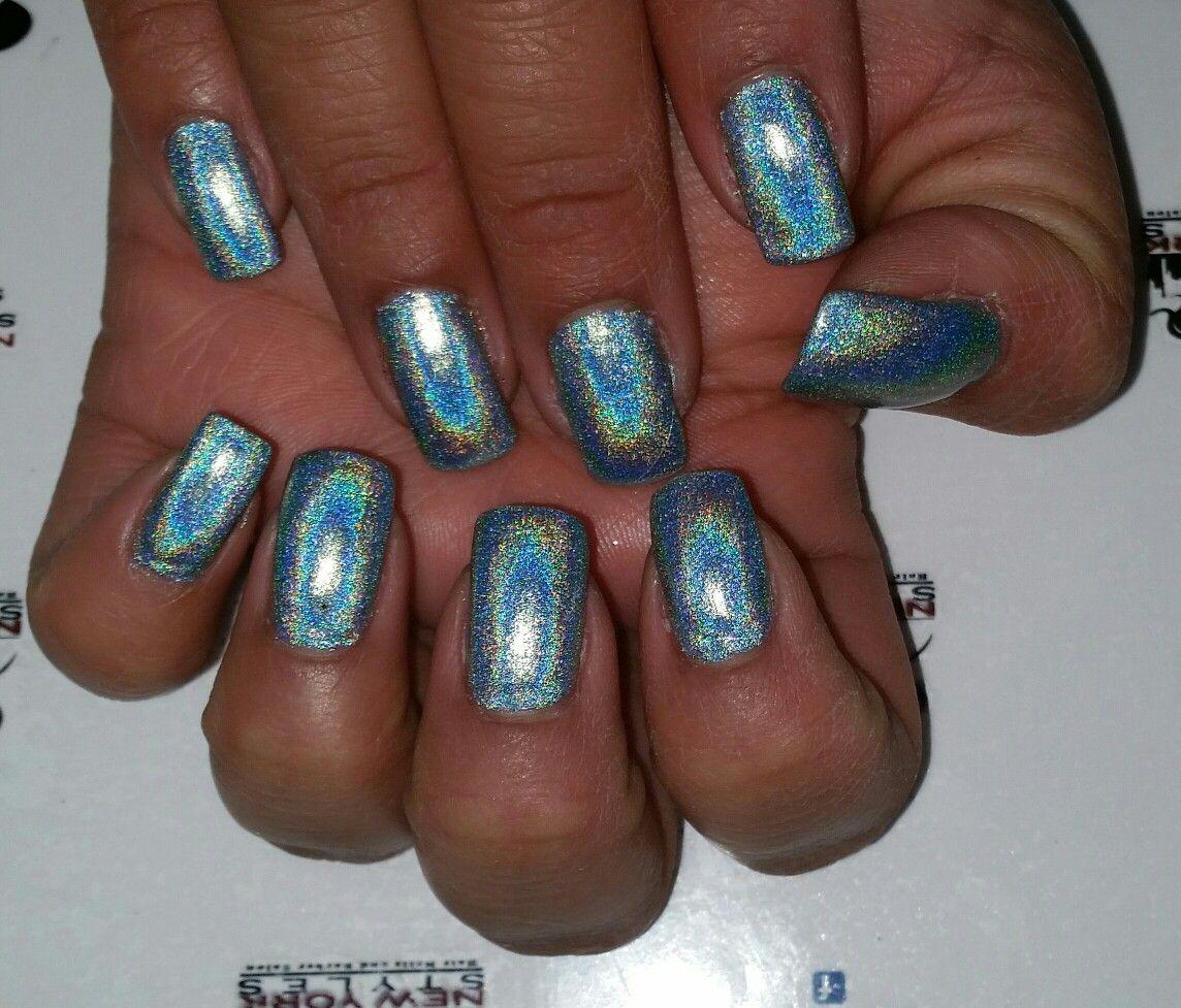 Acrylic nails with gel polish and glitter   Nails, Acrylic