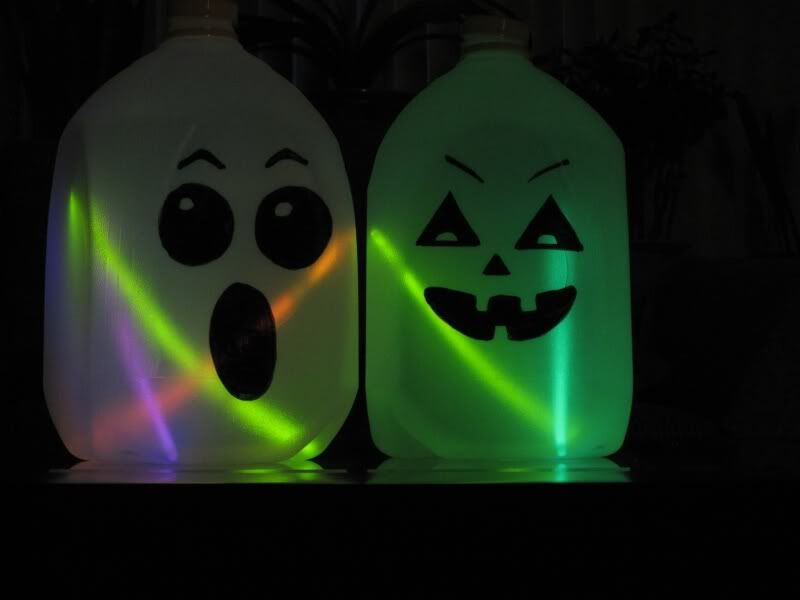 Milk Carton Halloween Crafts Part - 34: Milk Jug Jack O Lanterns With Glow Sticks