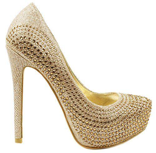 Gold Sparkling Rhinestone High Stiletto Heel