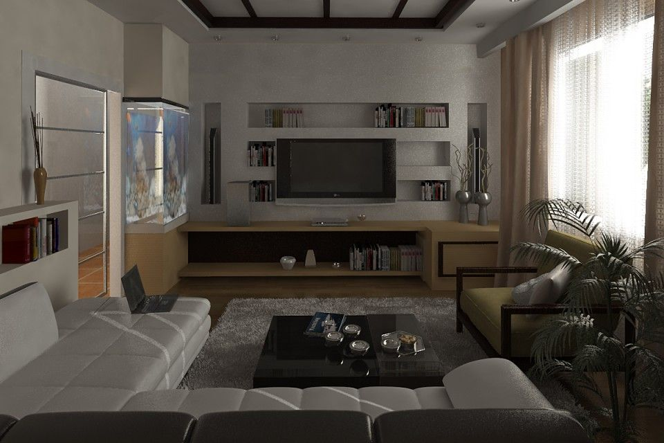 Nice Small Bachelor Pad Living Room Idea With L Shaped Sofa And Luminous Black Coffee Table Over Gray Fur Rug Brown Couch Also Wall Mounted Led Tv