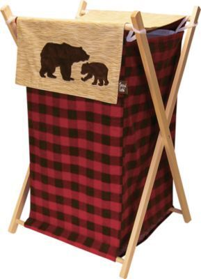 Northwoods Hamper Set Trend Lab Bear Decor Plaid Nursery