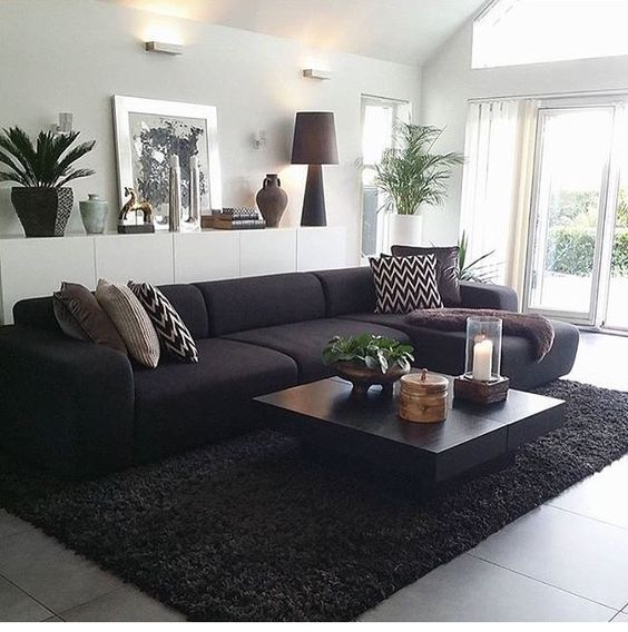 Living Rooms With Black Furniture: Pin En Ambientes