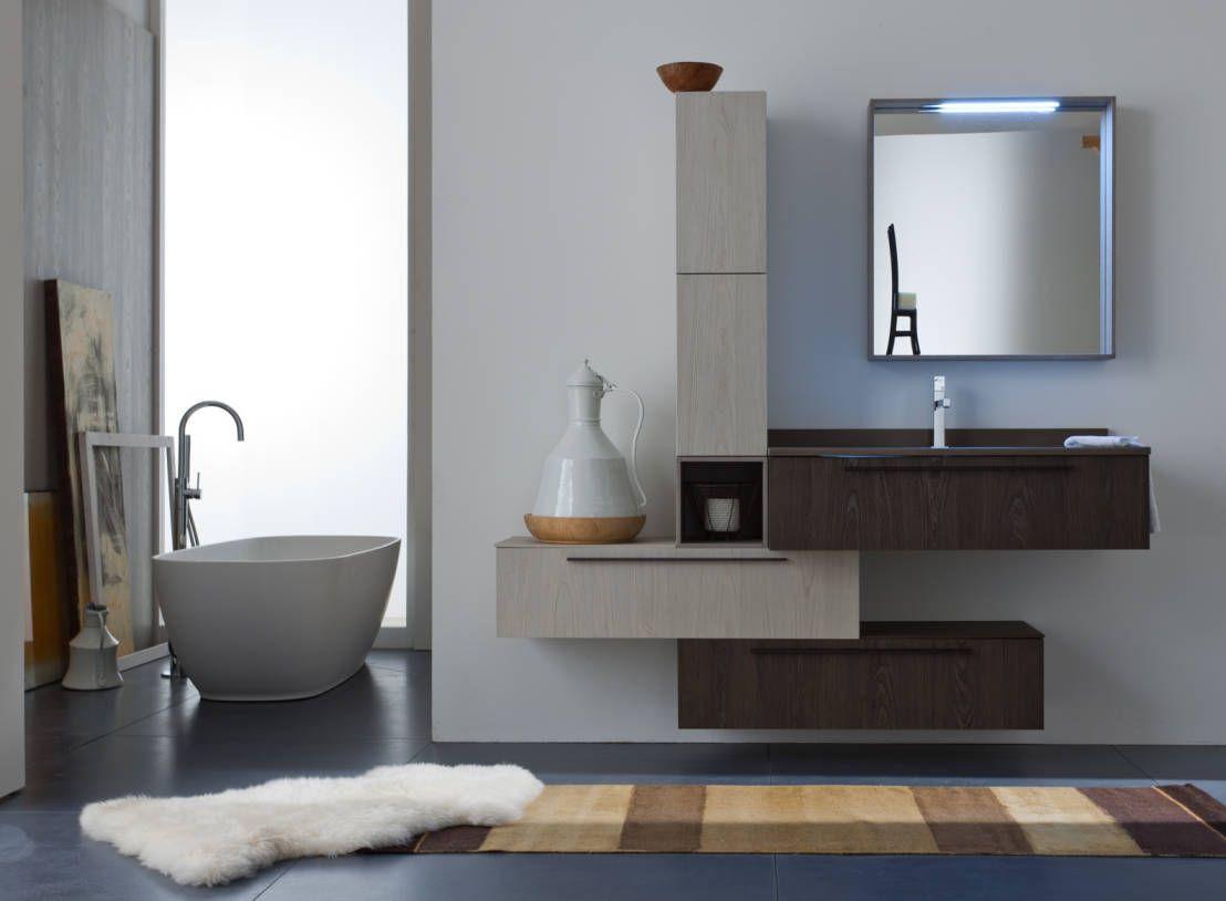 Mobile lavabo sospeso arredo bagno moderno con cassettoni e
